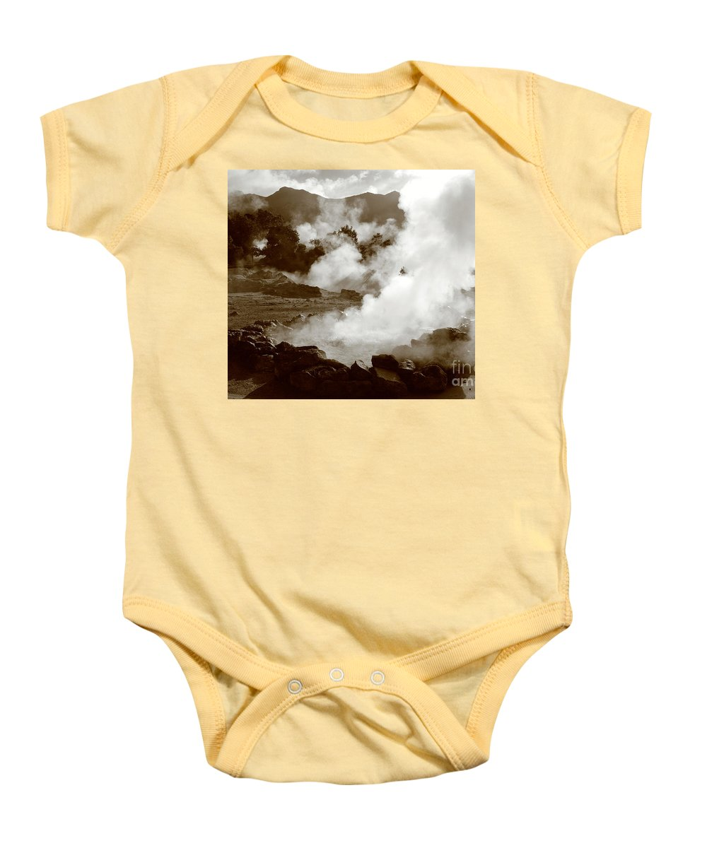Azores Baby Onesie featuring the photograph Volcanic Steam by Gaspar Avila