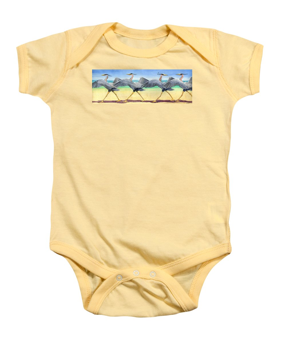 Heron Baby Onesie featuring the painting Walk This Way by Catherine G McElroy
