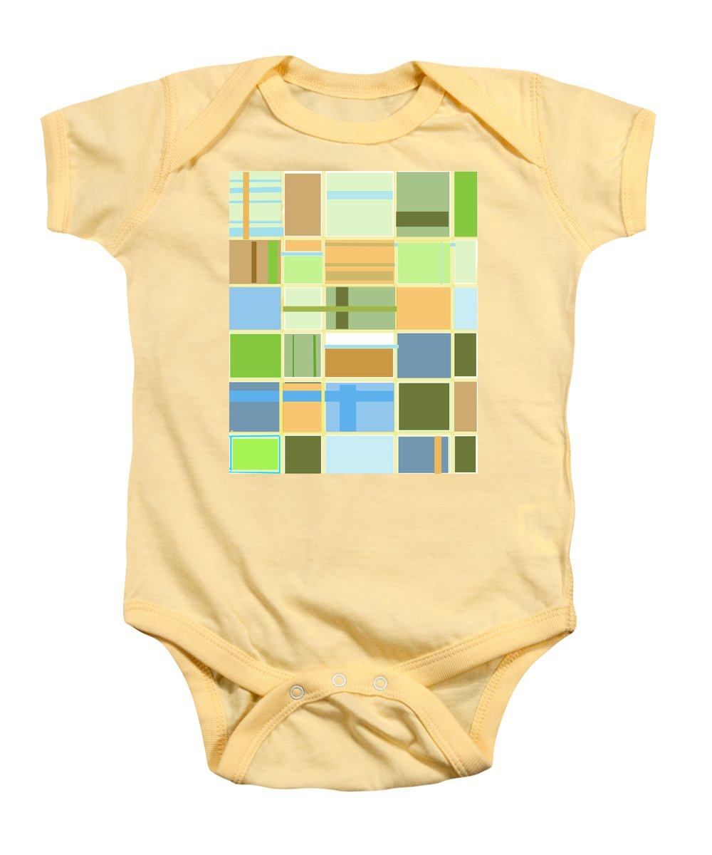 Patterns Abstract Blues Greens Squares Baby Onesie featuring the digital art We Are Connected by Suzanne Udell Levinger