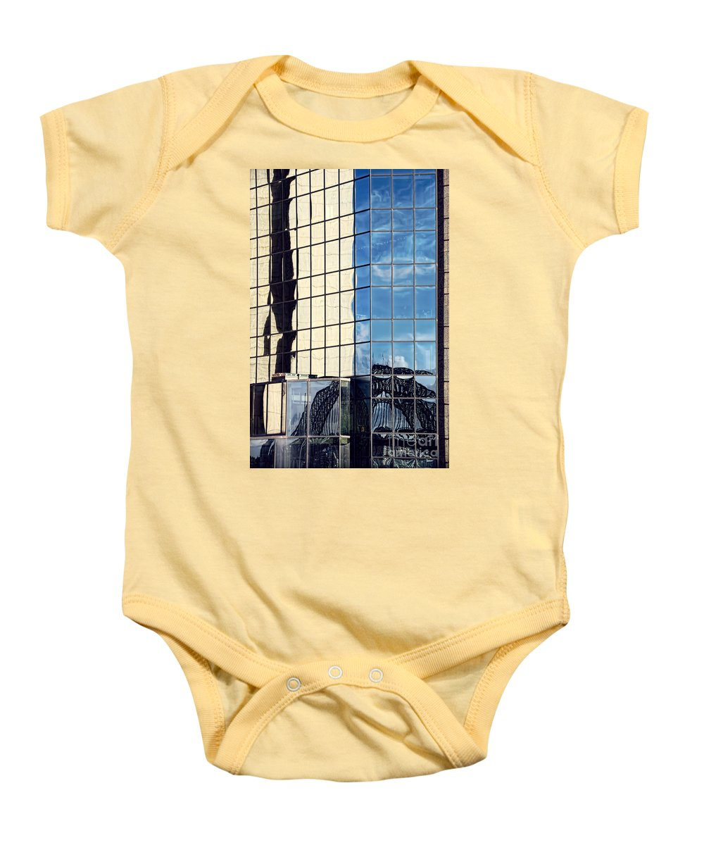 Photography Baby Onesie featuring the photograph Warped Harbour Bridge Reflection By Kaye Menner by Kaye Menner