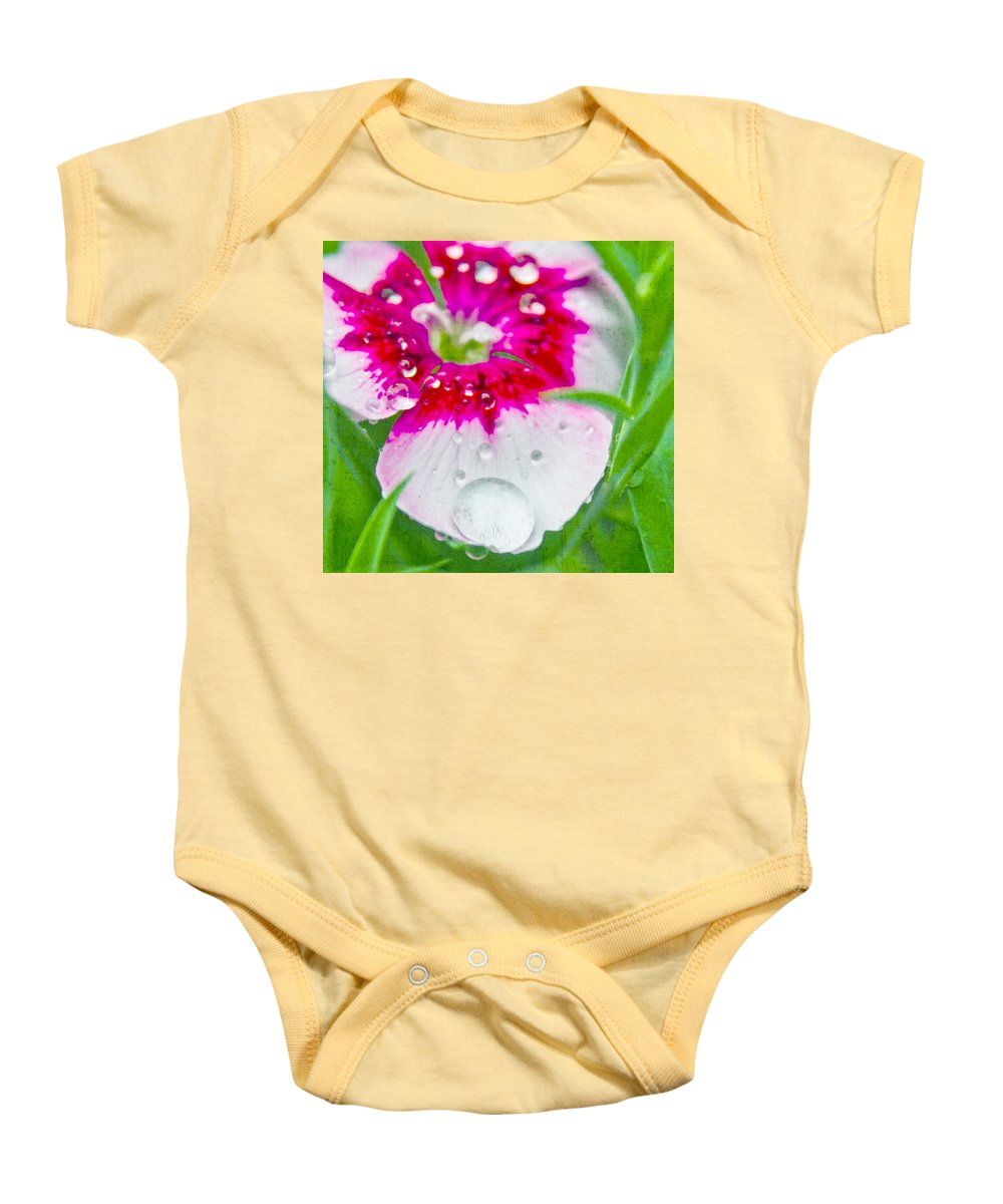 Diamonds Baby Onesie featuring the photograph Water Diamond On White by Alex Art and Photo