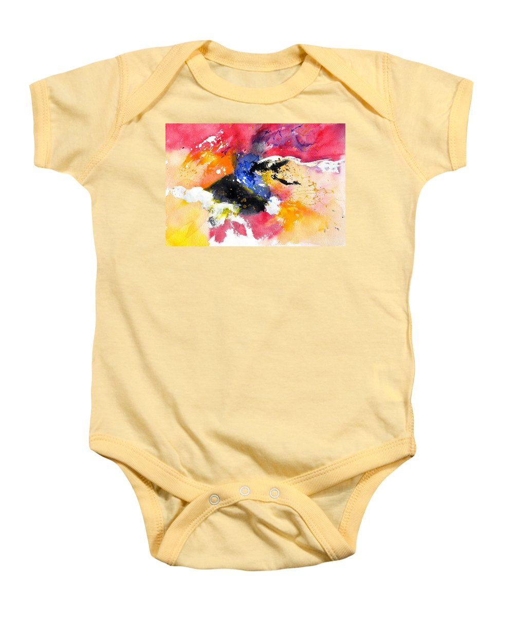 Abstract Baby Onesie featuring the painting Watercolor 017081 by Pol Ledent