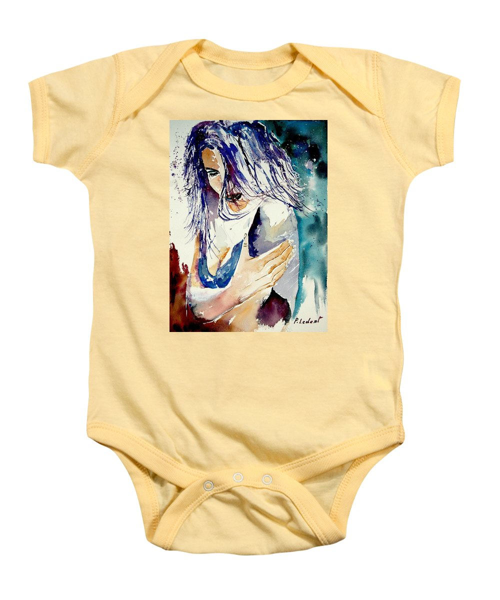 Girl Baby Onesie featuring the painting Watercolor 050308 by Pol Ledent