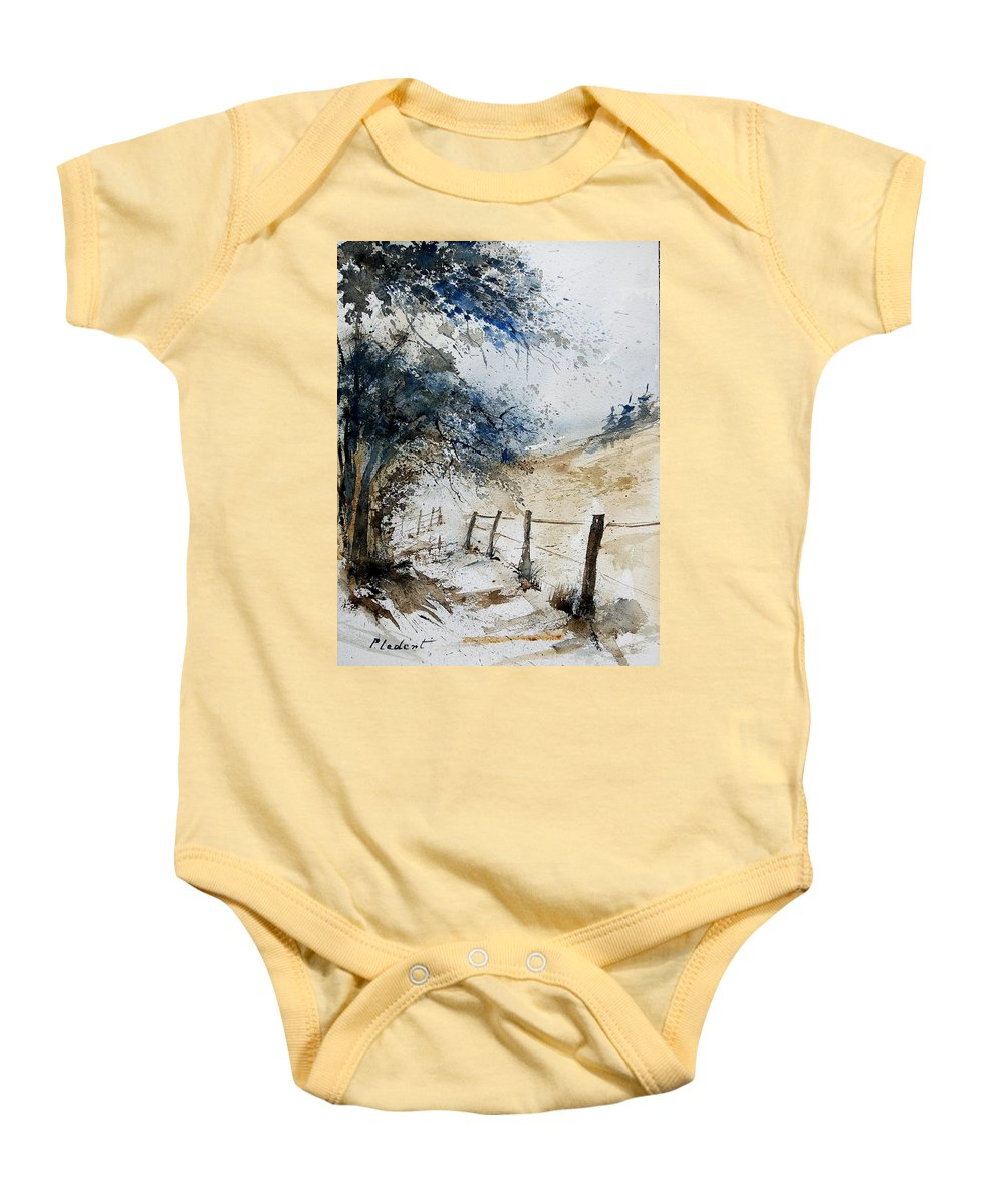 Winter Baby Onesie featuring the painting Watercolor 061106 by Pol Ledent