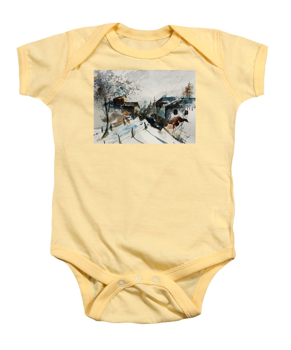 Winter Baby Onesie featuring the painting Watercolor 080707 by Pol Ledent