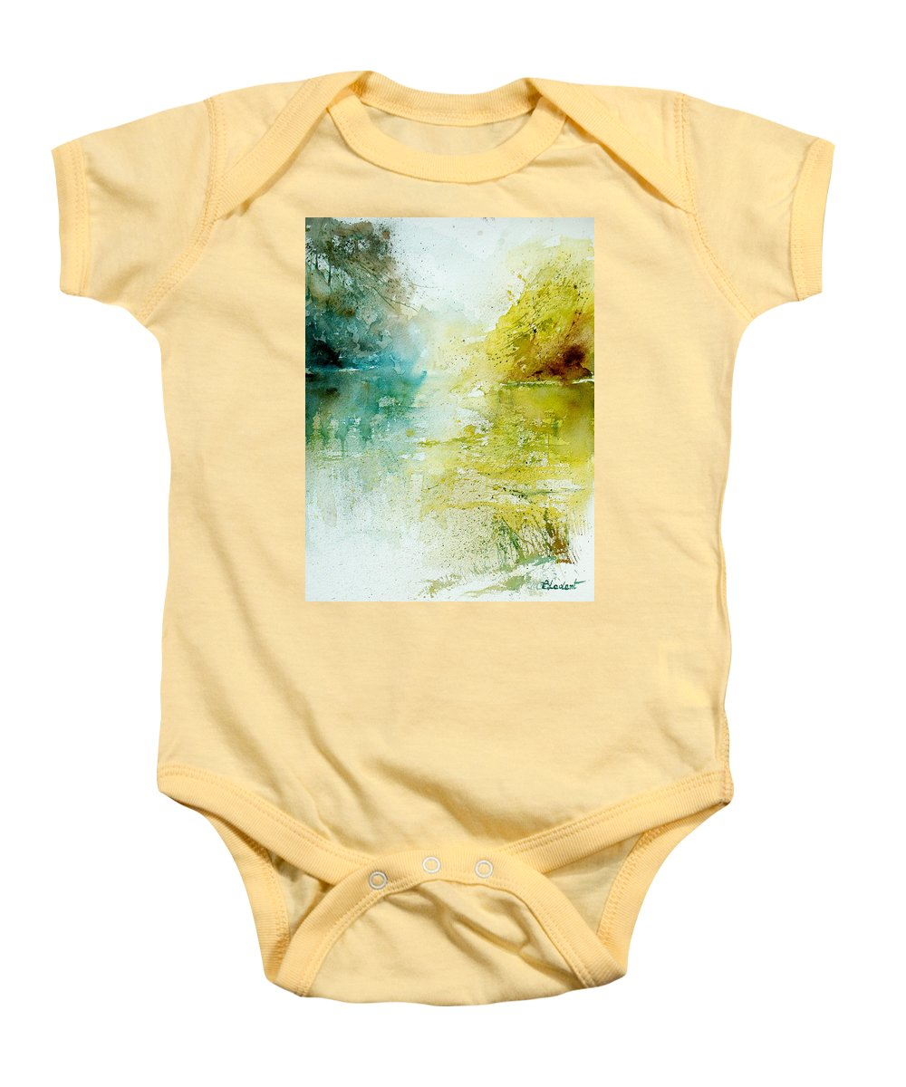 Pond Nature Landscape Baby Onesie featuring the painting Watercolor 24465 by Pol Ledent