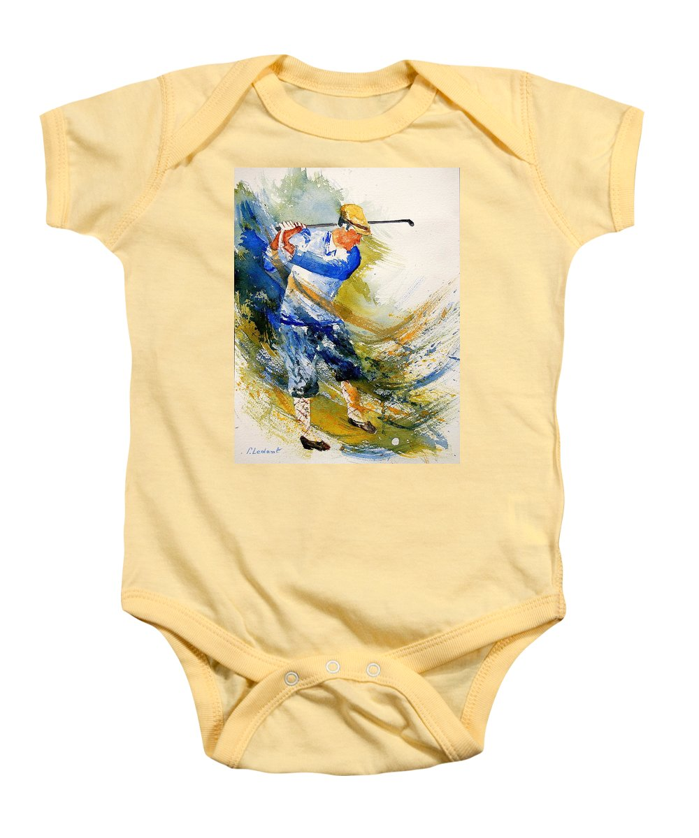 Golf Baby Onesie featuring the painting Watercolor Golf Player by Pol Ledent