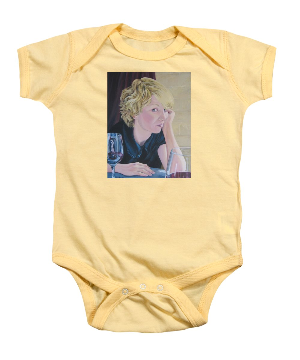 Portrait Baby Onesie featuring the painting Well by Connie Schaertl