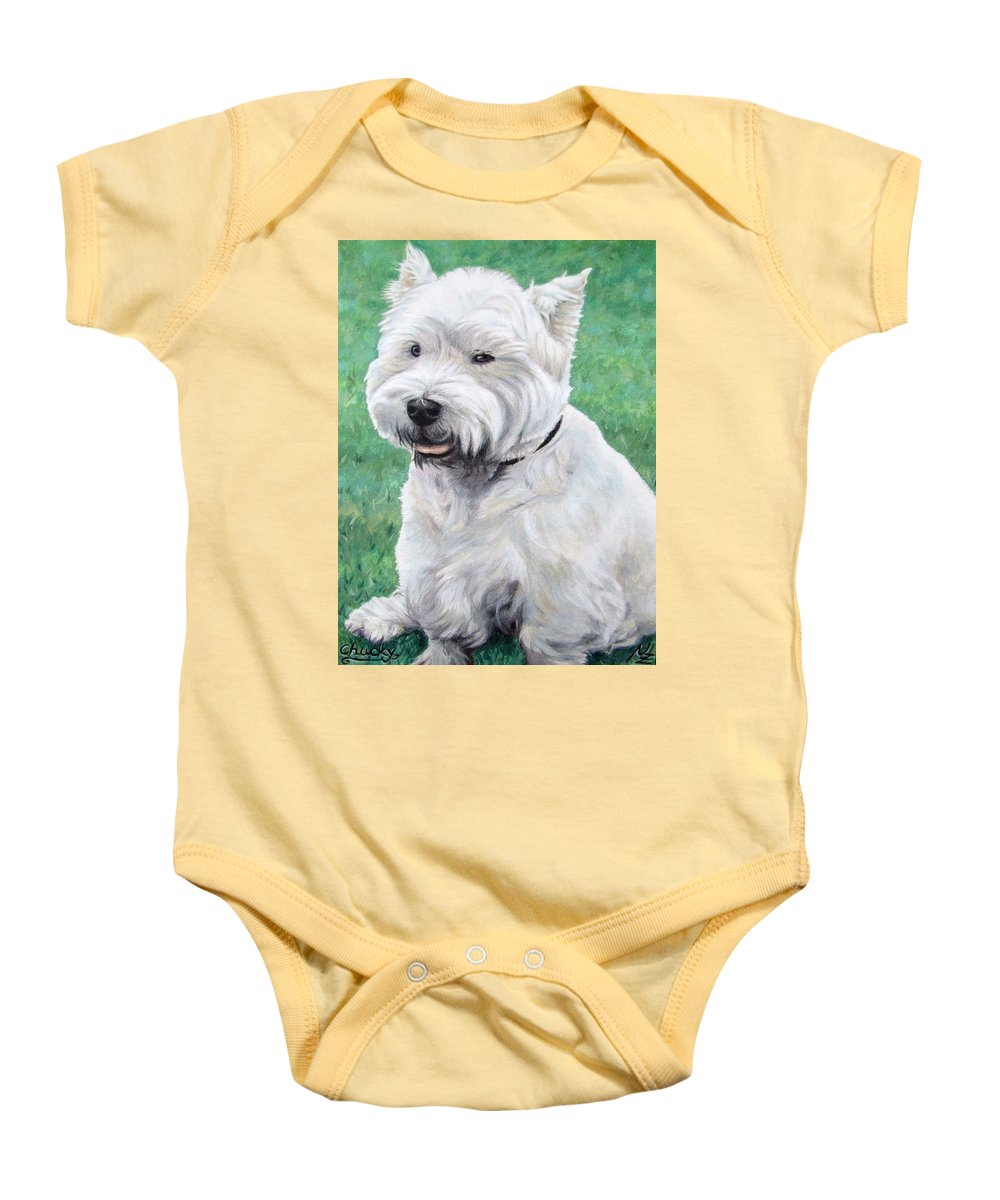 Dog Baby Onesie featuring the painting West Highland Terrier by Nicole Zeug