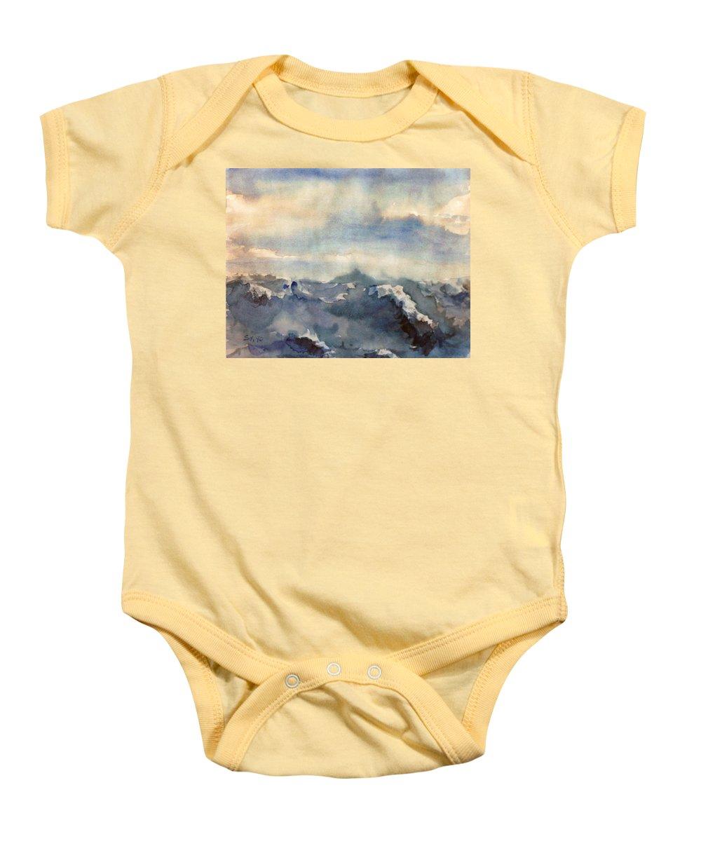 Seascape Baby Onesie featuring the painting Where Sky Meets Ocean by Steve Karol