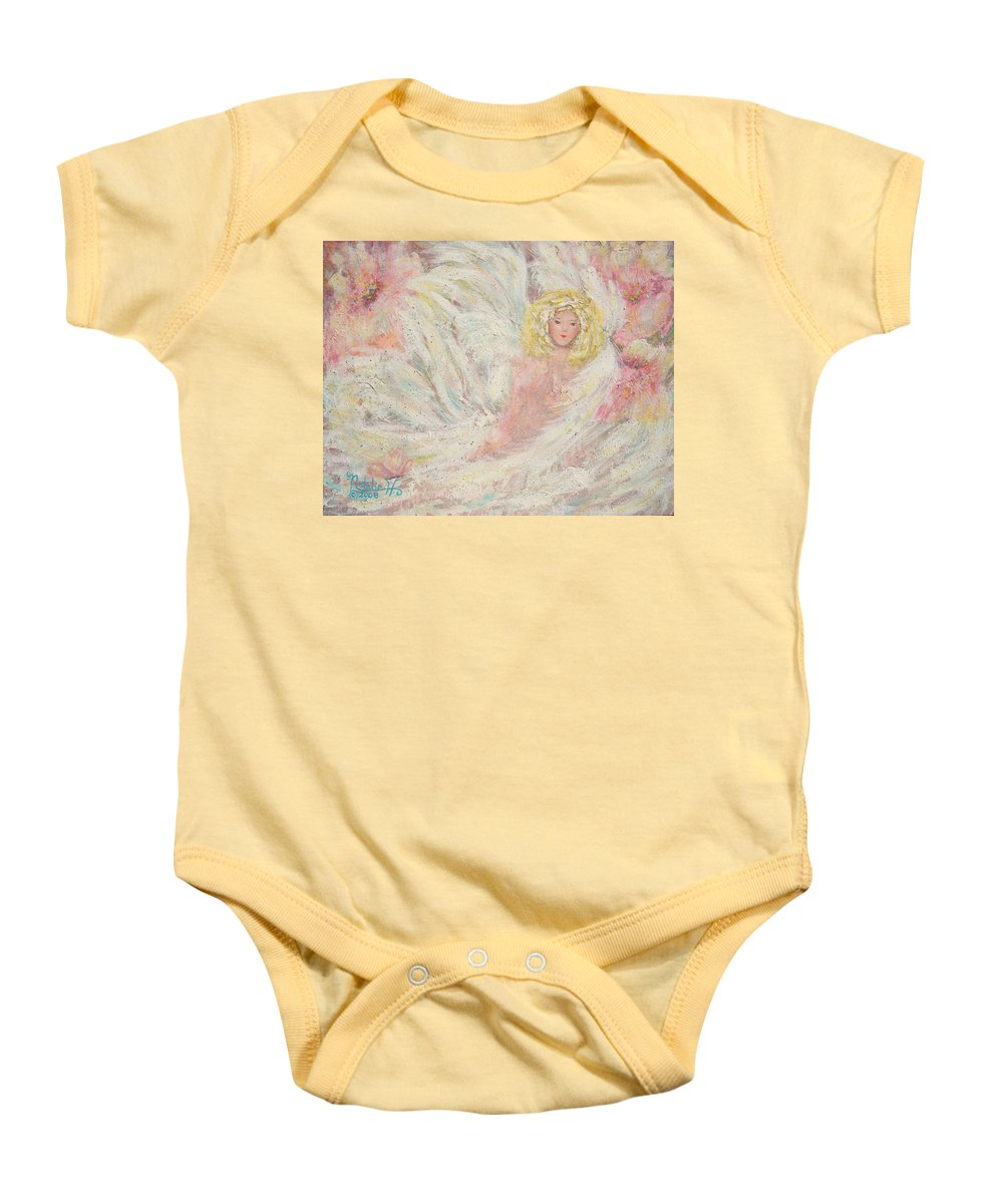 Angel Baby Onesie featuring the painting White Feathers Secret Garden Angel 4 by Natalie Holland