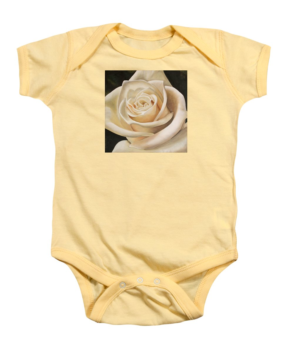 Flower Baby Onesie featuring the painting White Rose by Rob De Vries