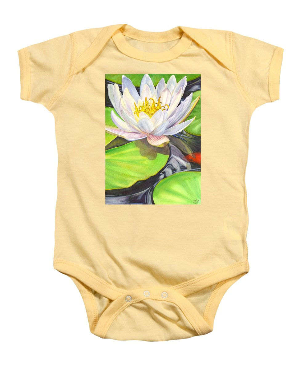 Lily Baby Onesie featuring the painting White Water Lily by Catherine G McElroy