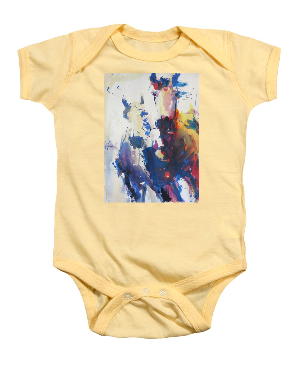 Horse Baby Onesie featuring the painting Wild Wild Horses by Robert Joyner