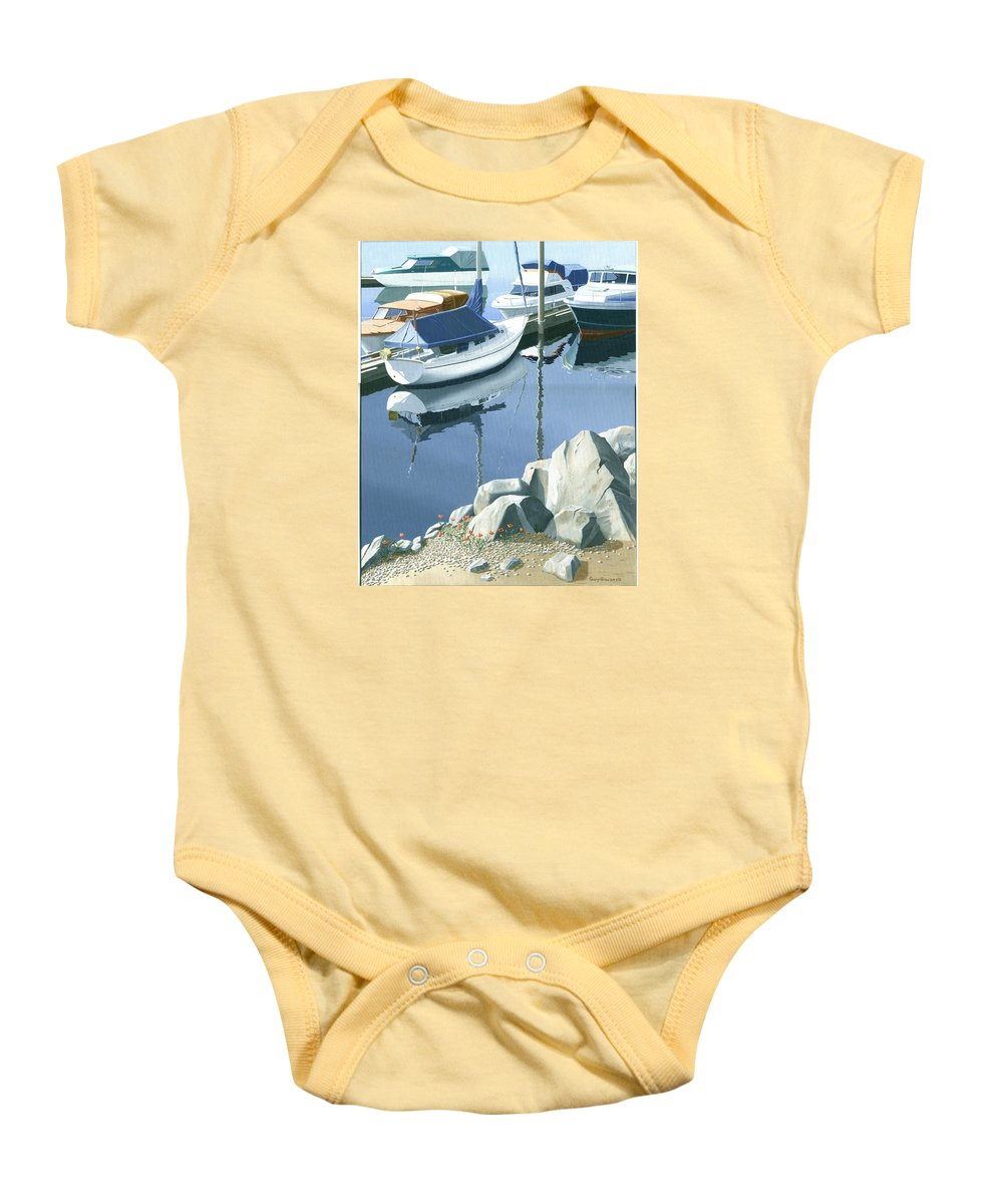 Sailboat Baby Onesie featuring the painting Wildflowers On The Breakwater by Gary Giacomelli