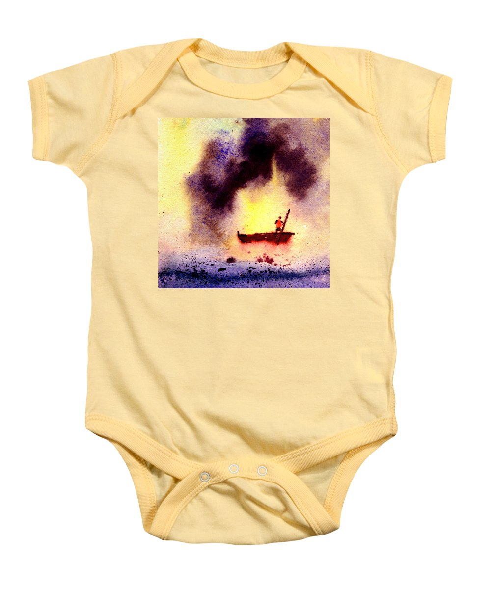 Landscape Baby Onesie featuring the painting Will Power by Anil Nene