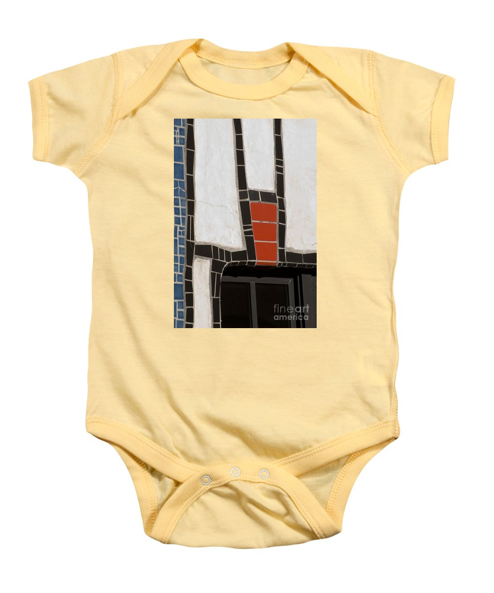 California Scenes Baby Onesie featuring the photograph Winery Window Wall Detail by Norman Andrus