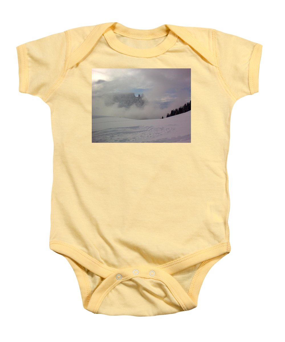 Landscape Baby Onesie featuring the photograph Winter In The Dolomite Alps by Valerie Ornstein