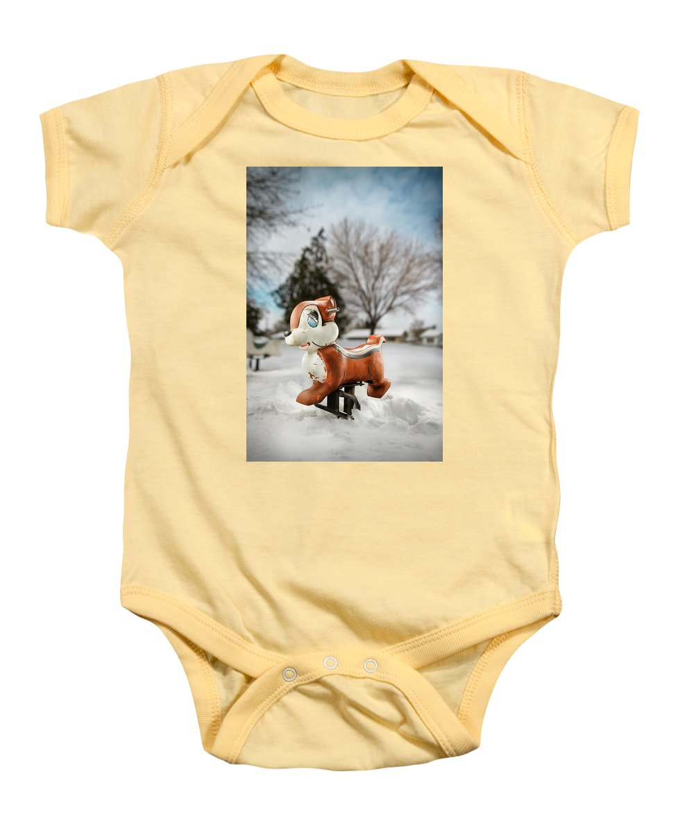 Blue Baby Onesie featuring the photograph Winter Squirel by Yo Pedro