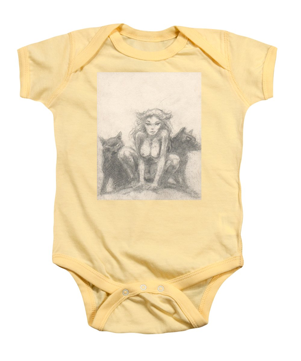 Small Baby Onesie featuring the drawing Wolf Girl by T Ezell