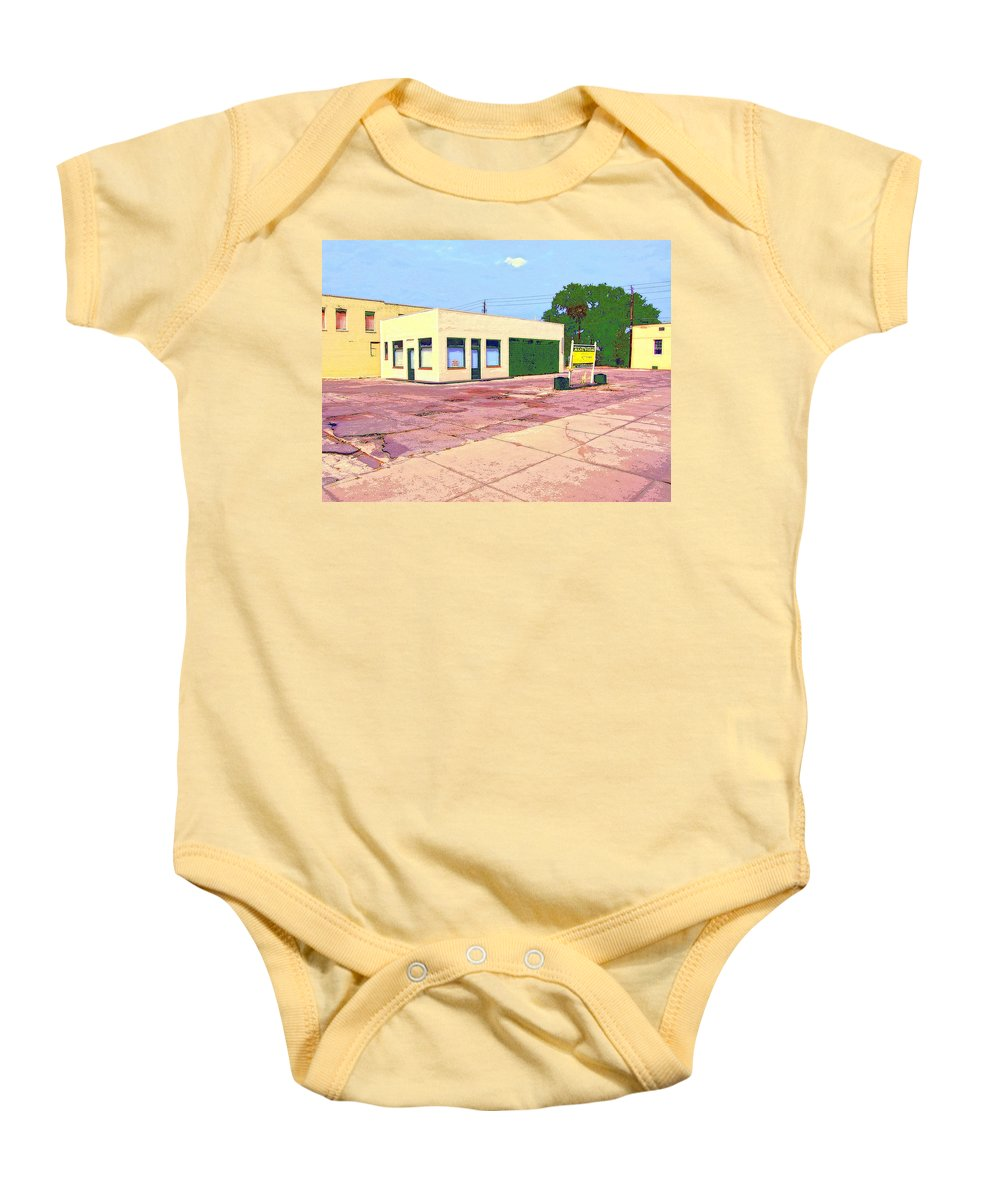 Abandoned Baby Onesie featuring the mixed media World Headquarters by Dominic Piperata