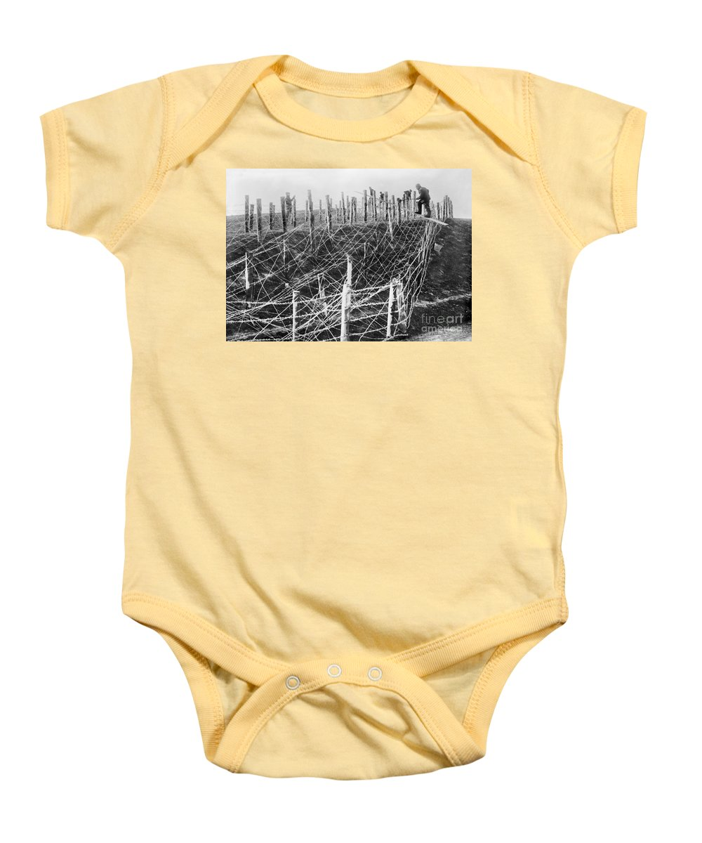 1914 Baby Onesie featuring the photograph World War I Barbed Wire by Granger