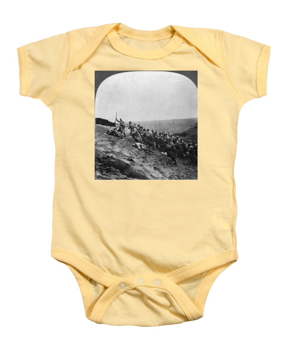 Army Baby Onesie featuring the photograph Wwi: French Attack by Granger