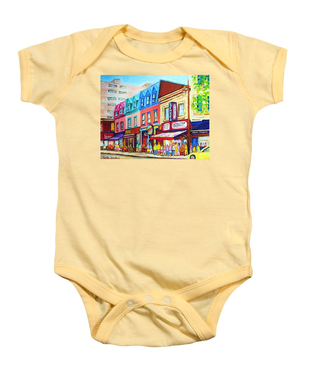 Reastarant Baby Onesie featuring the painting Yellow Car At The Smoked Meat Lineup by Carole Spandau