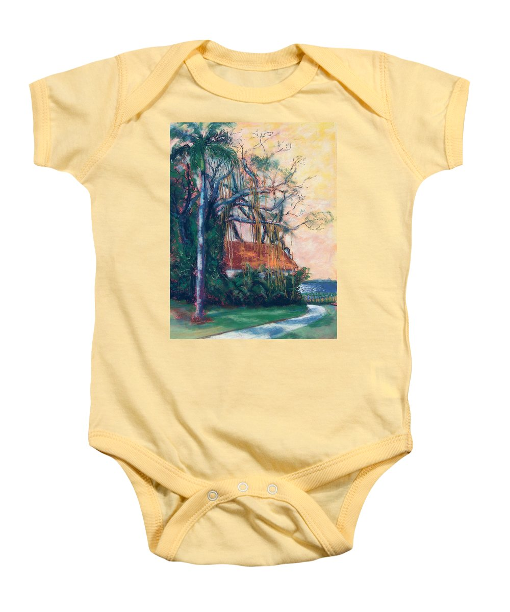 Edison Baby Onesie featuring the painting Yellow Sky At Edison Winter Estate by Laurie Paci