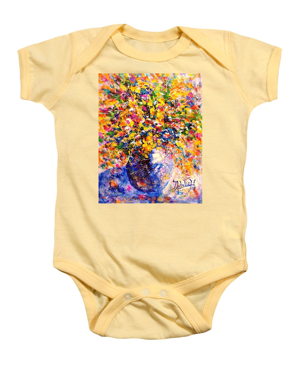 Flowers Baby Onesie featuring the painting Yellow Sunshine by Natalie Holland