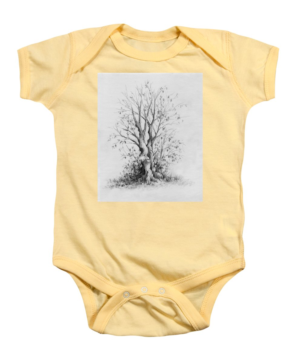 Pencil Baby Onesie featuring the drawing Young Tree by Rachel Christine Nowicki
