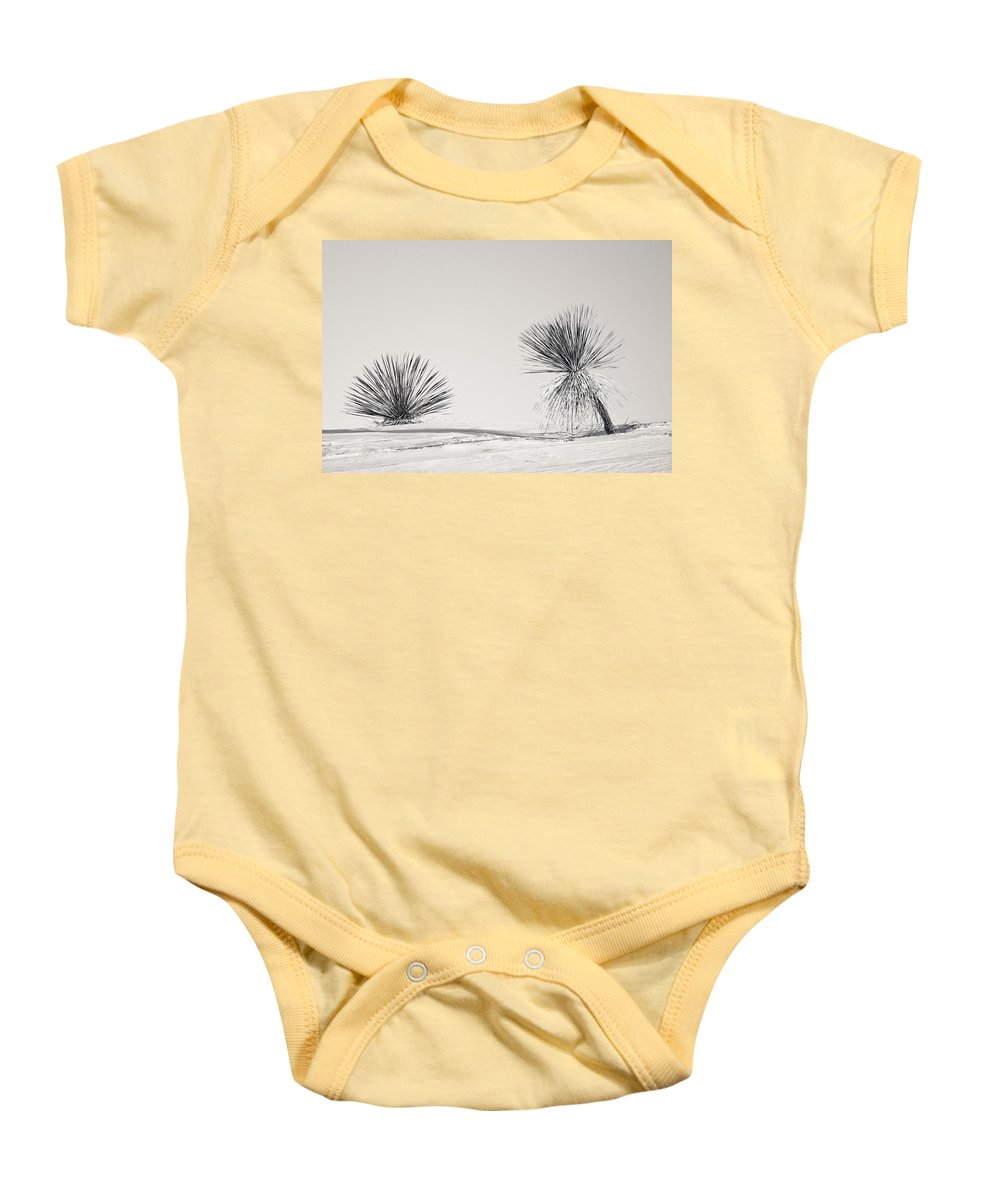 Yucca Baby Onesie featuring the photograph yucca in White sands by Ralf Kaiser