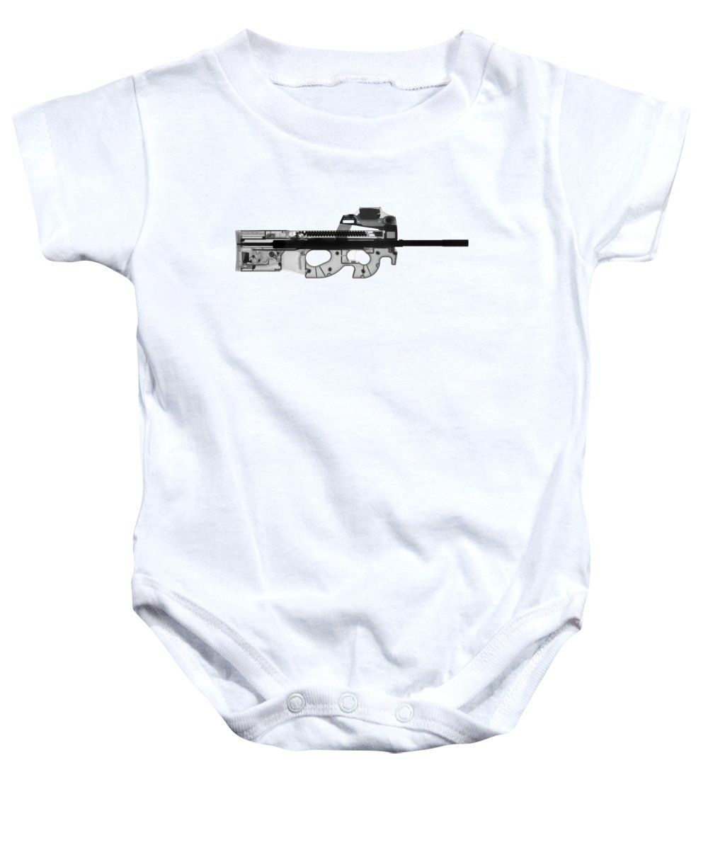 Gun Collectible Baby Onesie featuring the photograph  Fn Ps90 X-ray Photograph by Ray Gunz
