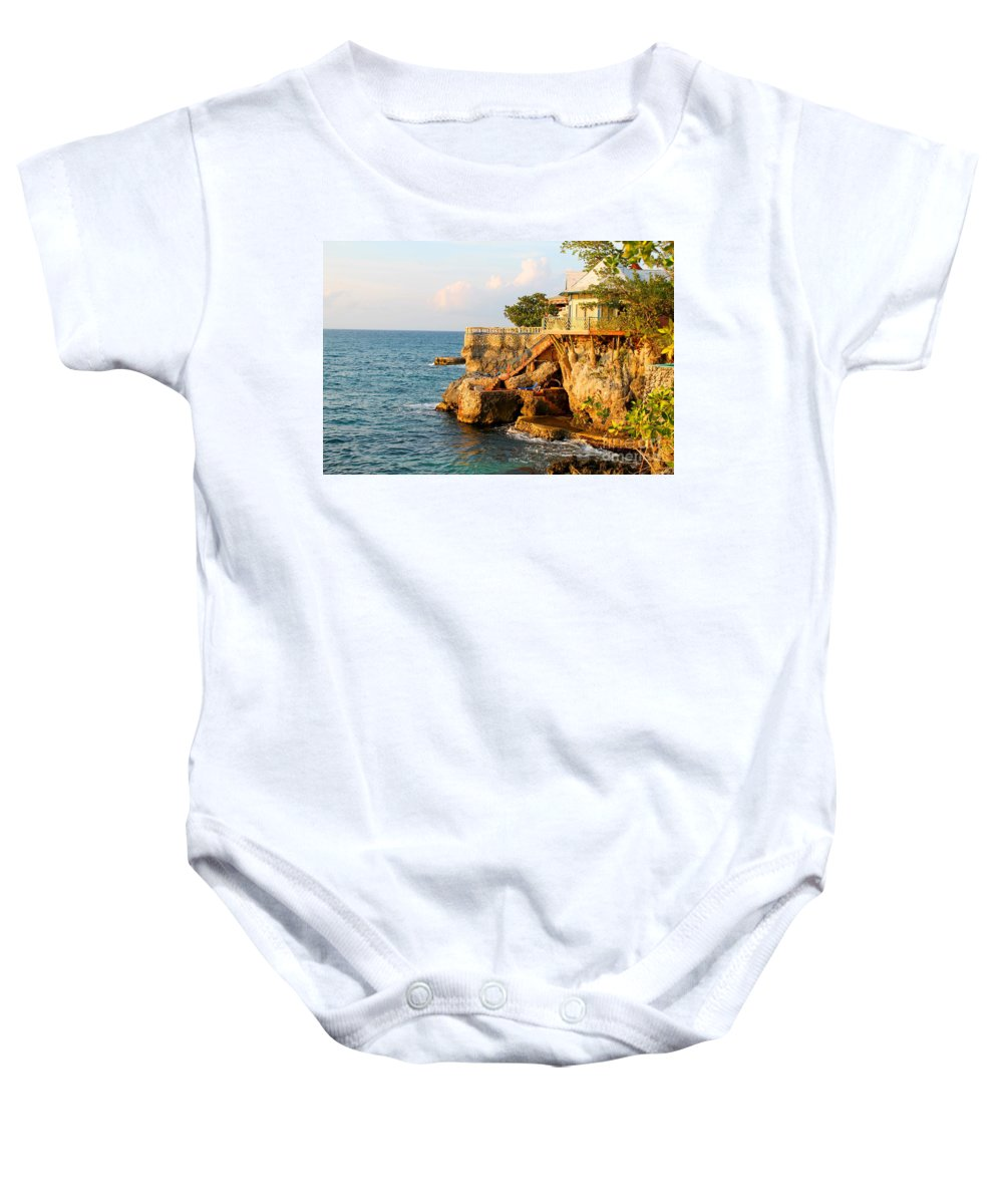 Jamaica Baby Onesie featuring the photograph Negril West End by Debbie Levene
