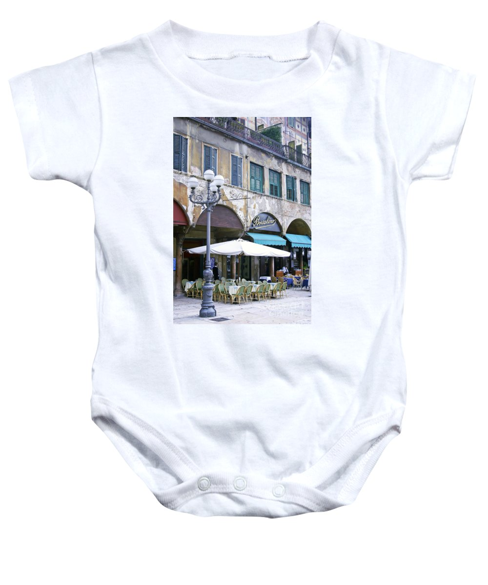 Verona Baby Onesie featuring the photograph 0507 Verona Cafe II by Steve Sturgill