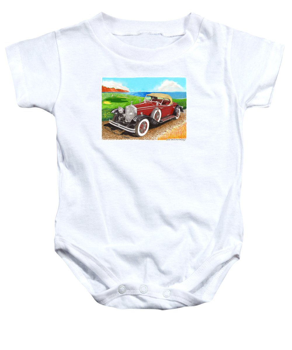 1931 Rolls Royce Henley Roadster Watercolor Painting By Jack Pumphrey Baby Onesie featuring the painting Rolls Royce Henley Roadster by Jack Pumphrey