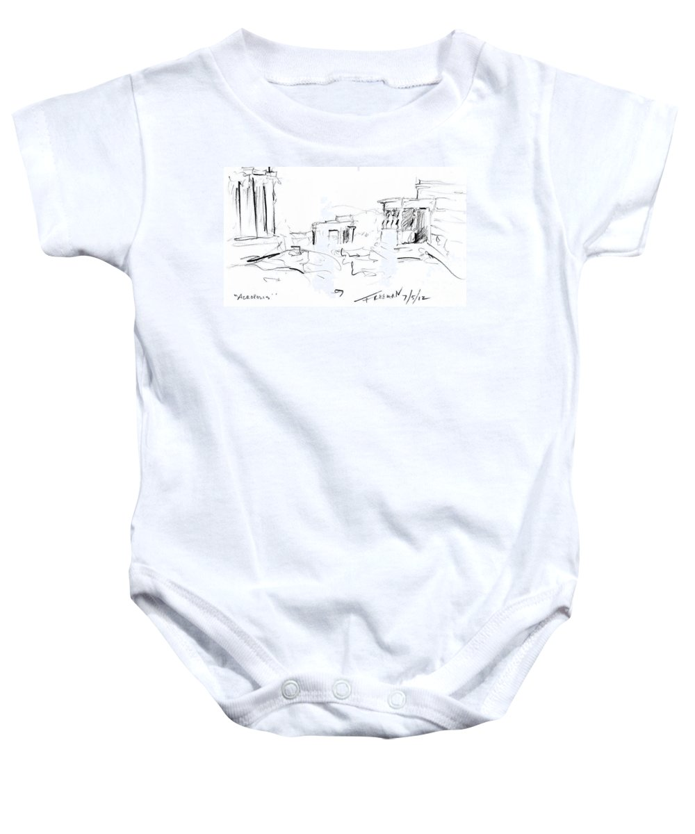 Crystal Cruises Baby Onesie featuring the drawing Acropolis by Valerie Freeman