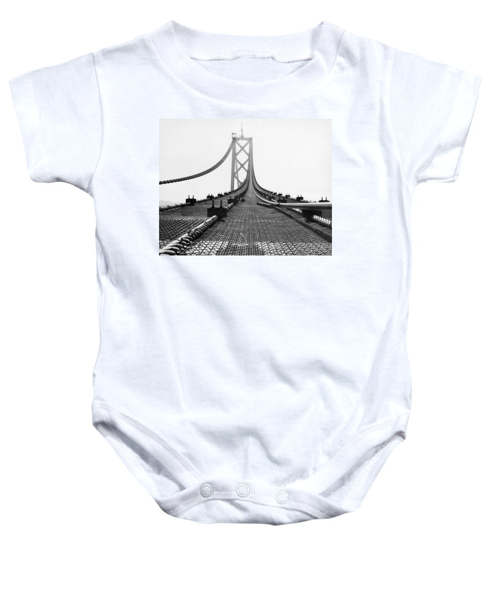 1935 Baby Onesie featuring the photograph Bay Bridge Under Construction by Ray Hassman