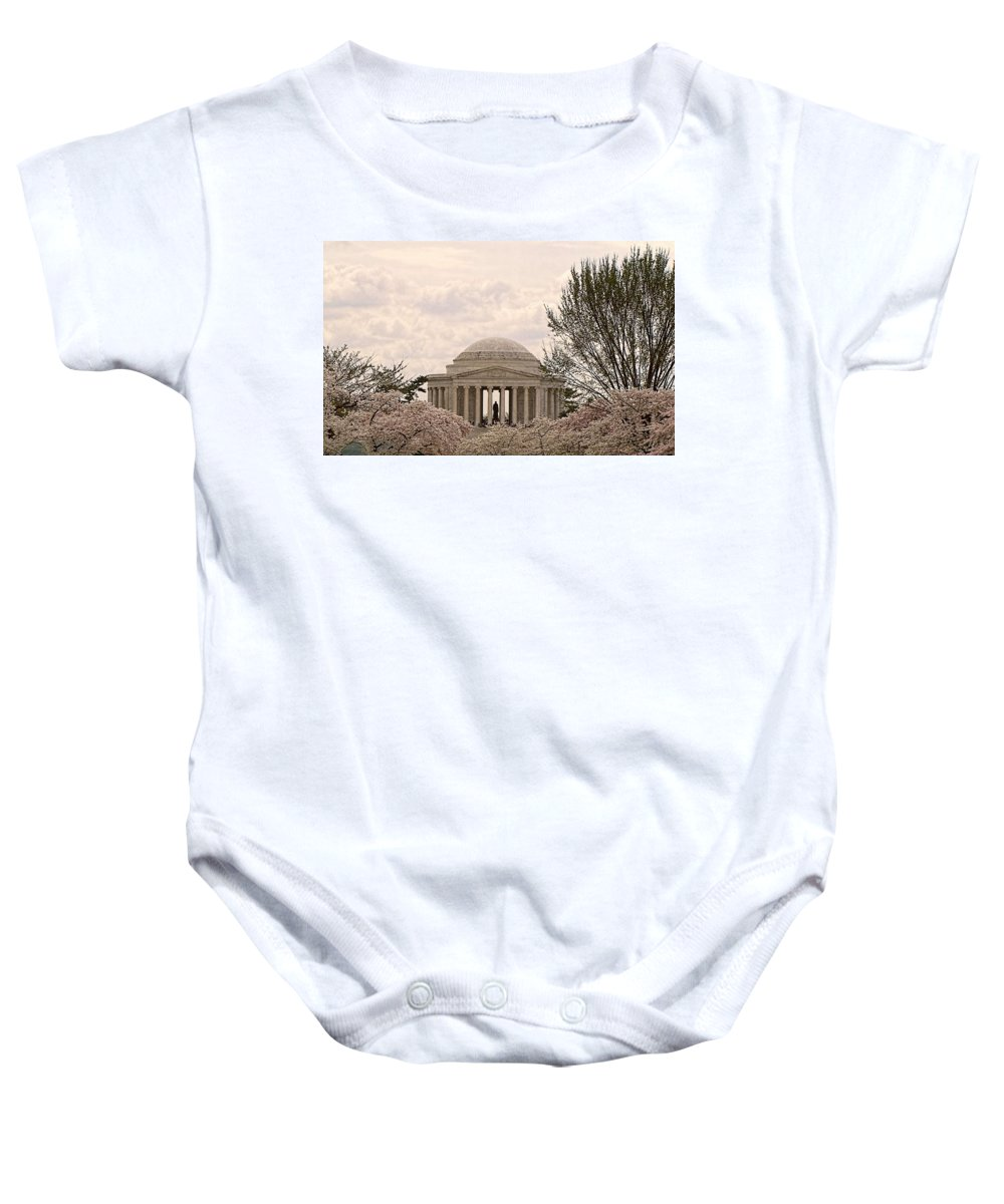 Washington Baby Onesie featuring the photograph Cherry Blossoms by Jennifer Wheatley Wolf