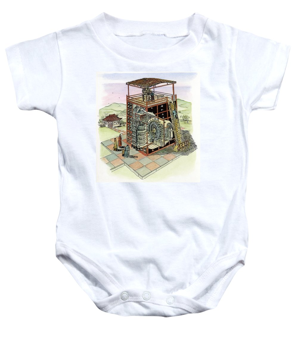 11th Century Baby Onesie featuring the drawing Chinese Astronomical Clocktower Built by Granger