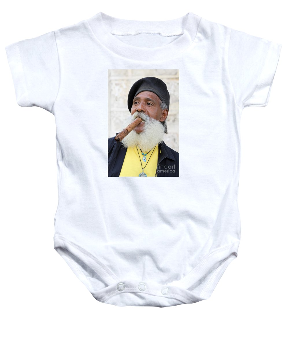 Man Baby Onesie featuring the photograph Cigar Man by PJ Boylan