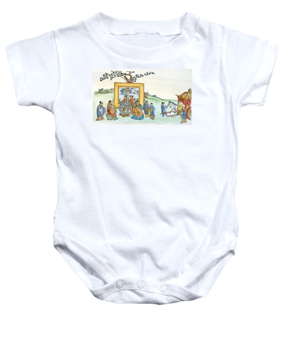 5th Century B.c Baby Onesie featuring the drawing Confucius (c551-479 B by Granger
