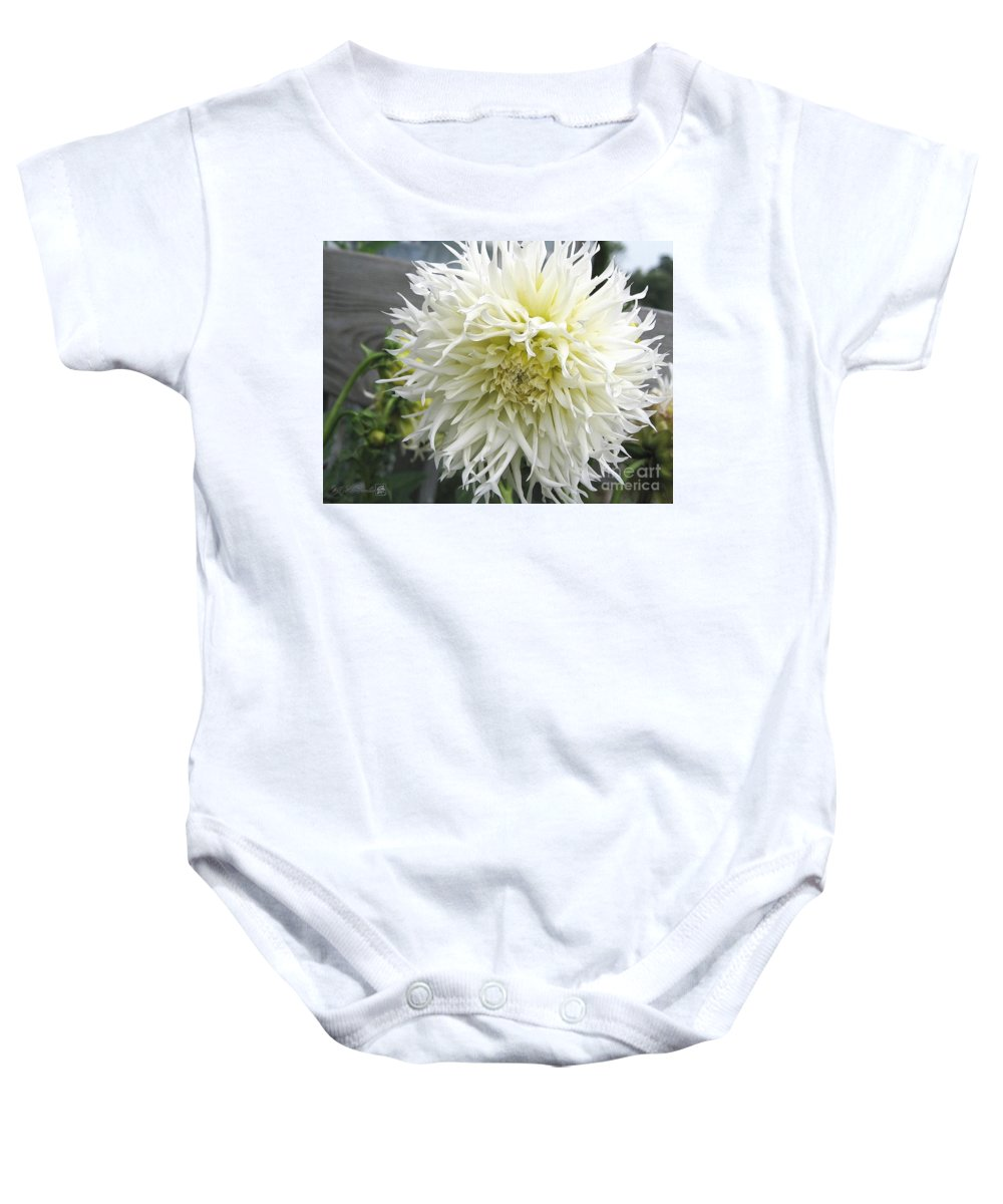 Dahlia Baby Onesie featuring the painting Dahlia Named Tsuki Yori No Shisa by J McCombie