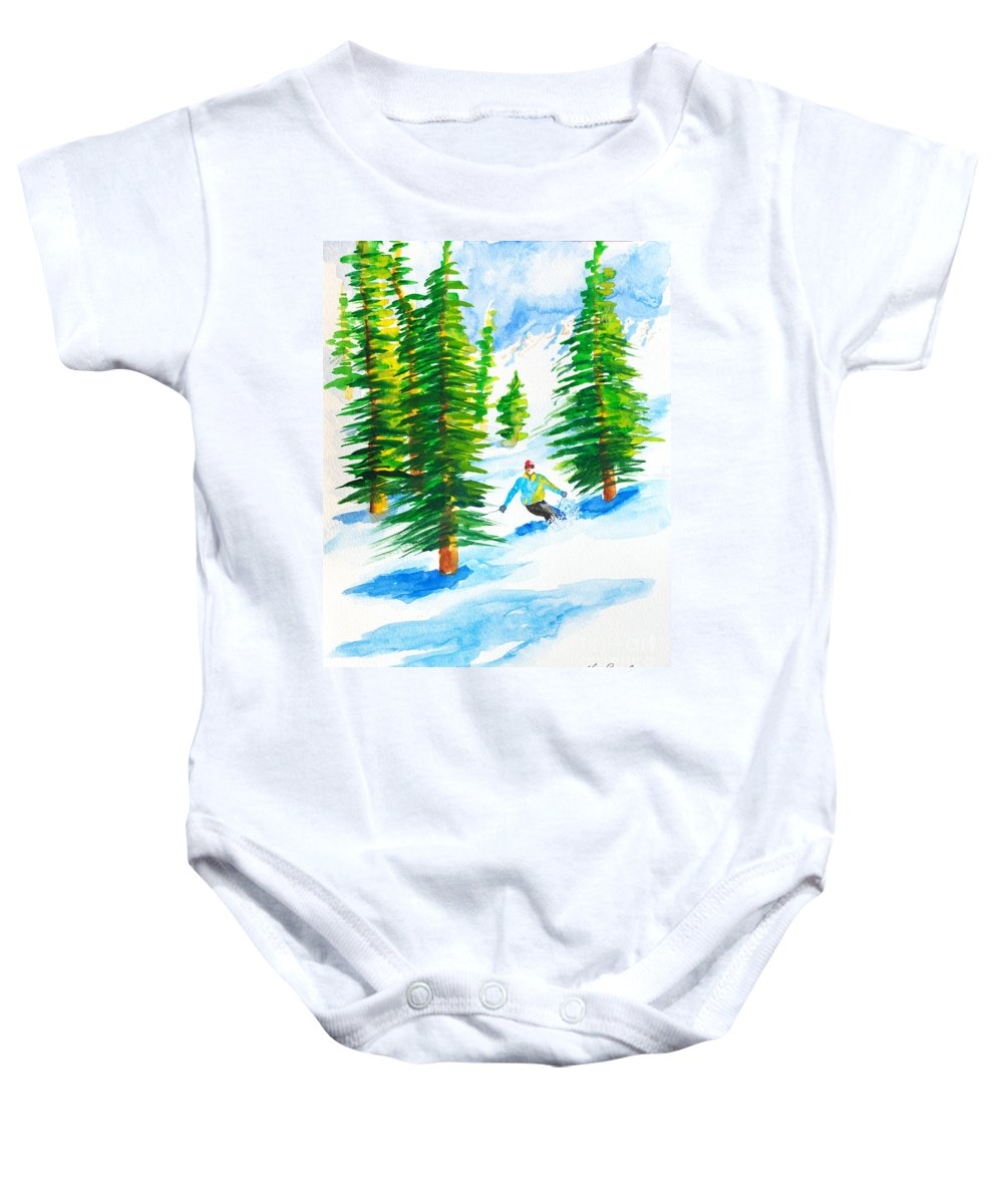 Powder Skiing Baby Onesie featuring the painting David Skiing The Trees by Walt Brodis