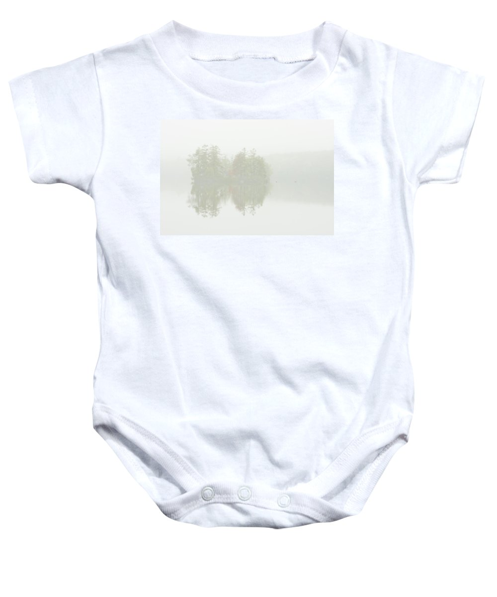 Maine Baby Onesie featuring the photograph Foggy Weather And Fall Colors On Flying Pond Vienna Maine by Keith Webber Jr