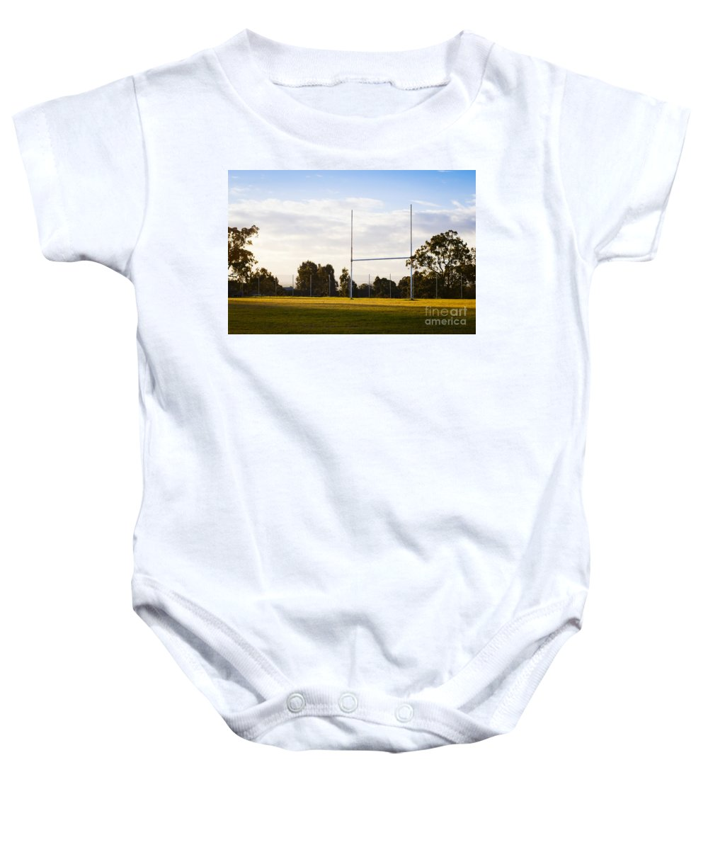 Goal Baby Onesie featuring the photograph Football Goals by Tim Hester