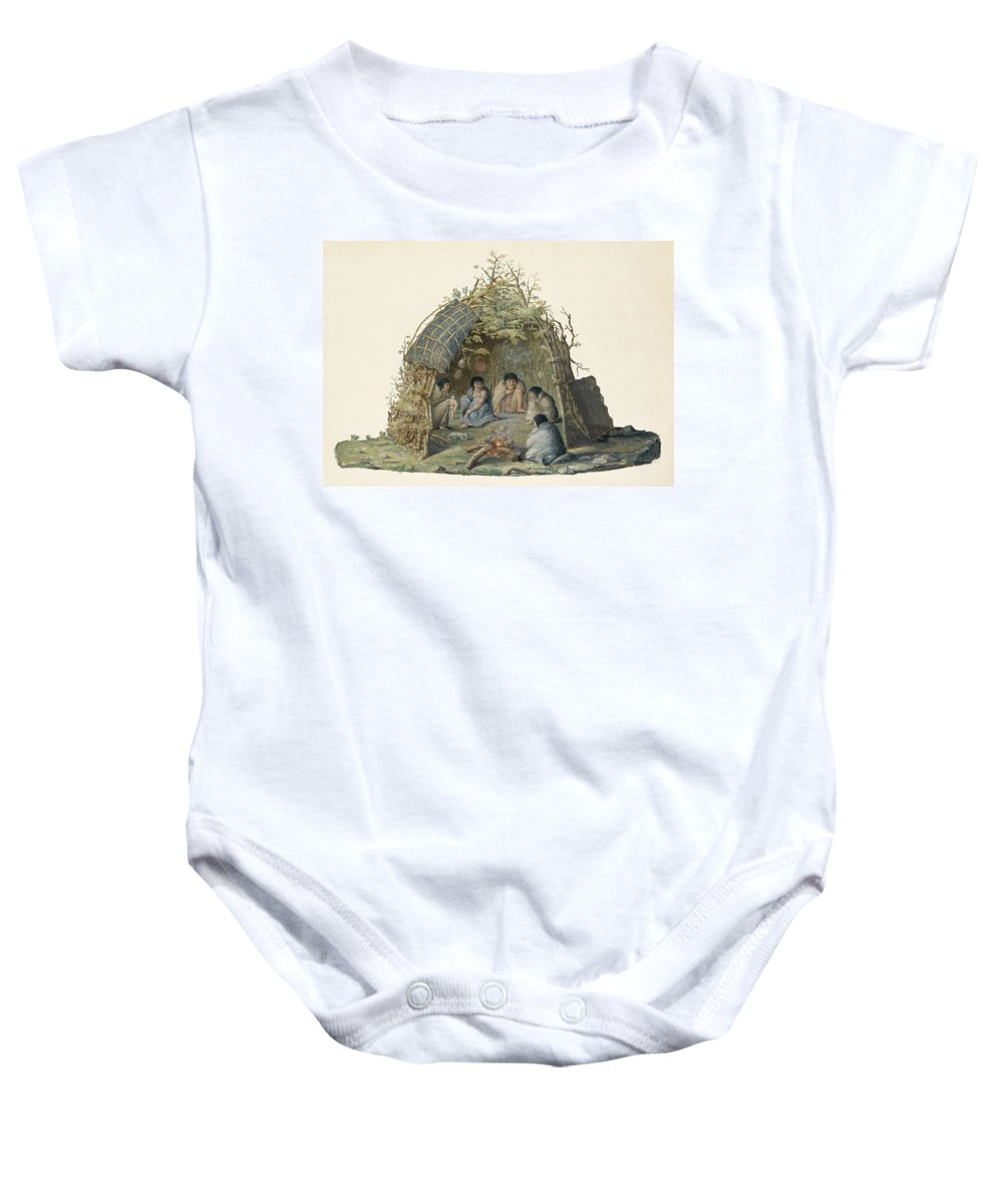 Anthropology Baby Onesie featuring the photograph Fuegans In Their Hut, 18th Century by British Library
