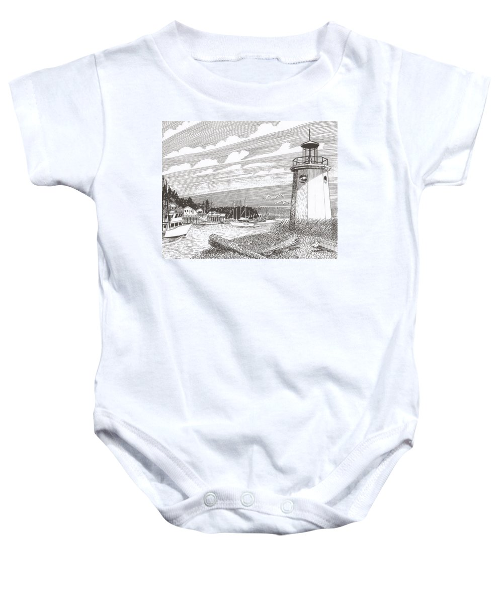 Lighthouse Art Baby Onesie featuring the drawing Lighthouse Gig Harbor Entrance by Jack Pumphrey