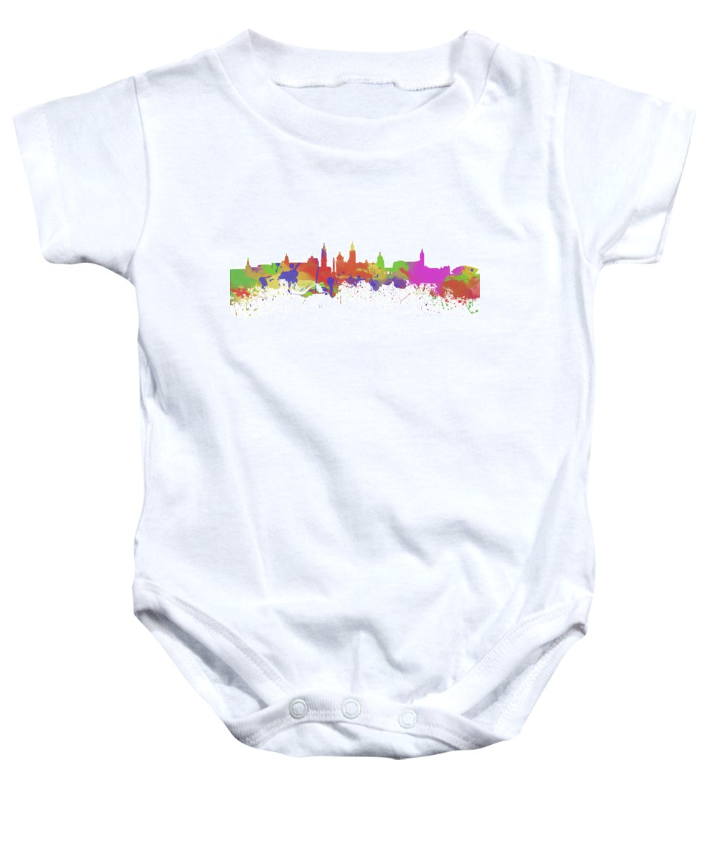 City Baby Onesie featuring the photograph Glasgow Watercolor Skyline by Chris Smith