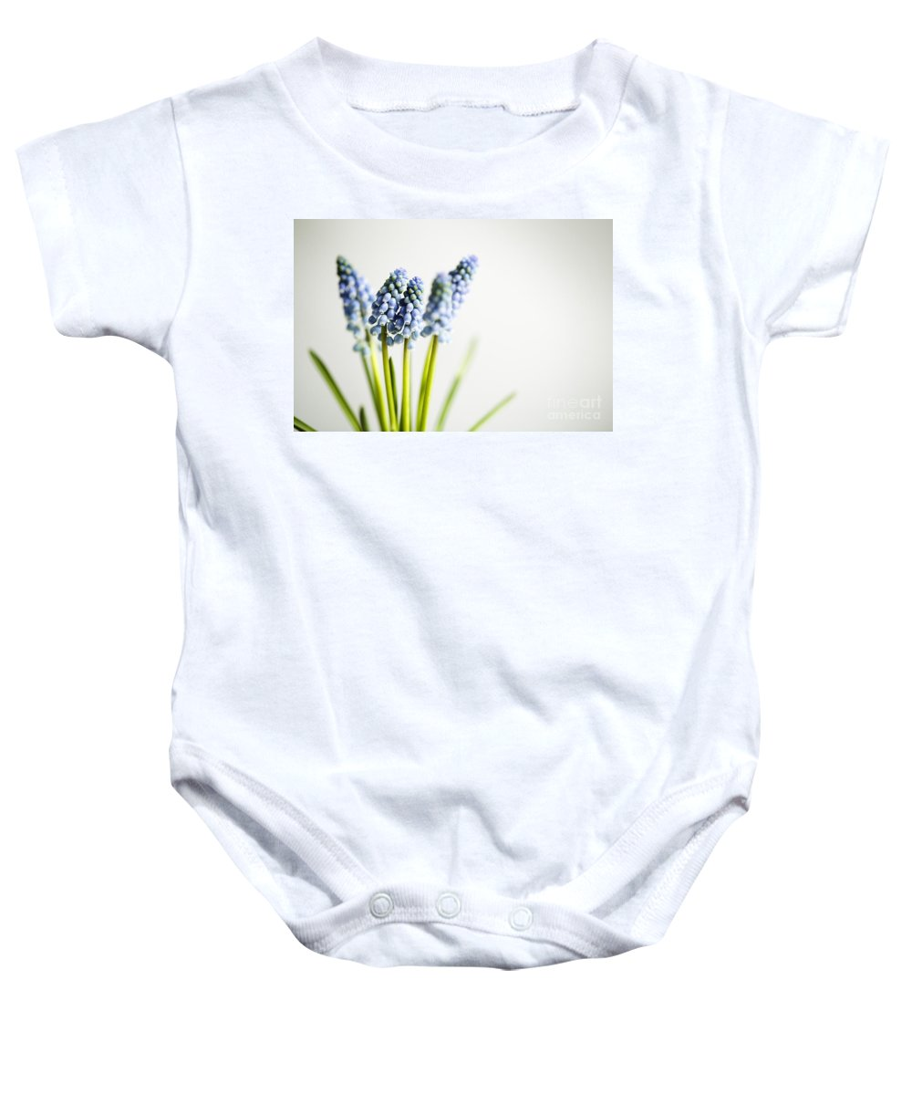 Hyacinth Baby Onesie featuring the photograph Grape Hyacinth by Nailia Schwarz